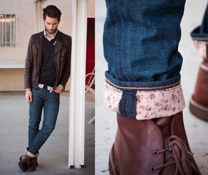 манжета на мужских джинсах
