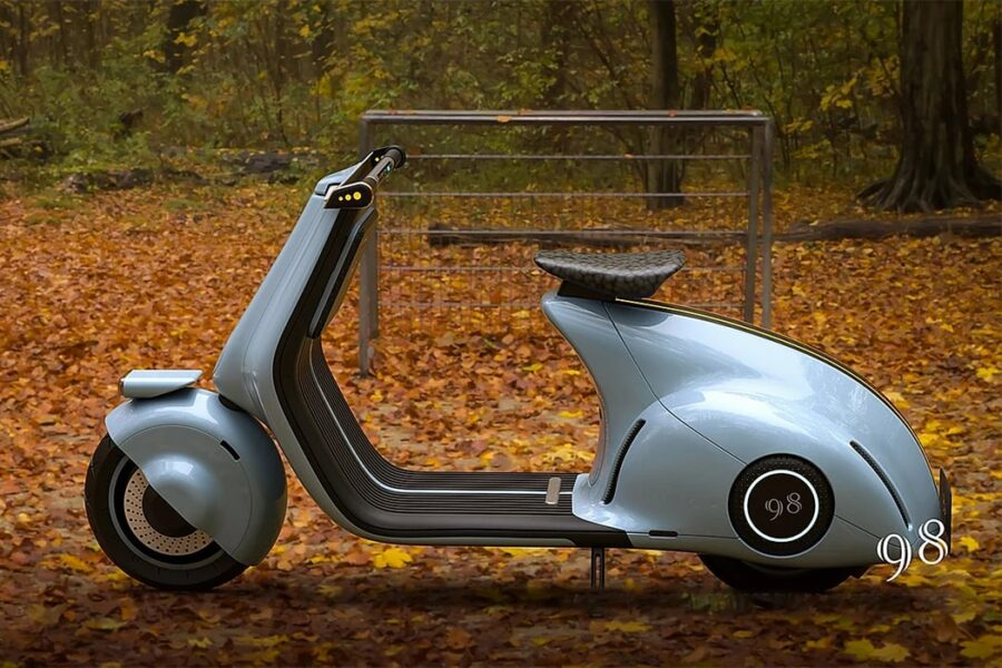 Концепция электрического скутера VESPA 98 от студии MIGHTYSEED